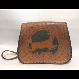 Handbags - Vintage tooled leather purse embossed